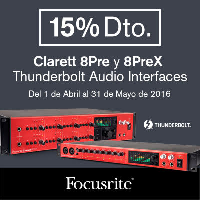 Promoción de las interfaces Thunderbolt de Focusrite
